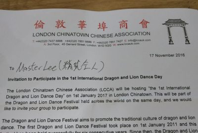 Invitation to participate in 1st International Dragon and Lion Dance Day
